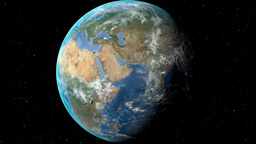 Night to day - rotating Earth. Zoom in on Bulgaria outlined Animation