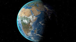 Night to day - rotating Earth. Zoom in on Central African Republic outlined Animation
