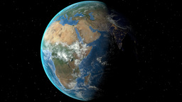 Night to day - rotating Earth. Zoom in on Chad outlined Animation