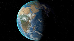 Night to day - rotating Earth. Zoom in on Congo Kinshasa outlined Animation