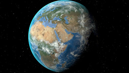 Night to day - rotating Earth. Zoom in on Croatia outlined Animation