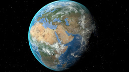 Night to day - rotating Earth. Zoom in on Czech Republic outlined Animation