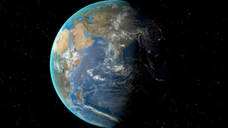 Night to day - rotating Earth. Zoom in on Djibouti outlined Animation