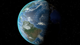 Night to day - rotating Earth. Zoom in on Dominican Republic outlined Animation