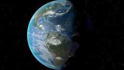 Night to day - rotating Earth. Zoom in on El Salvador outlined Animation