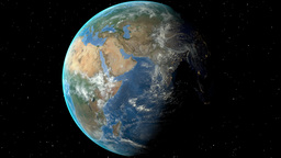 Night to day - rotating Earth. Zoom in on Egypt outlined Animation