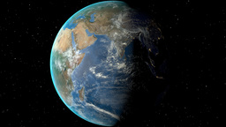 Night to day - rotating Earth. Zoom in on Ethiopia outlined Animation
