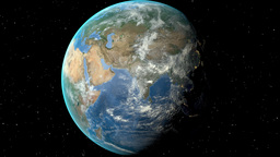 Night to day - rotating Earth. Zoom in on Georgia outlined Animation