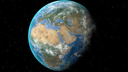 Night to day - rotating Earth. Zoom in on Germany outlined Animation