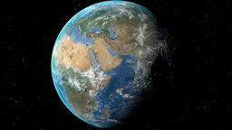 Night to day - rotating Earth. Zoom in on Greece outlined Animation