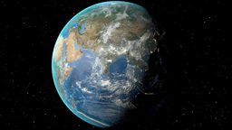 Night to day - rotating Earth. Zoom in on Iran outlined Animation