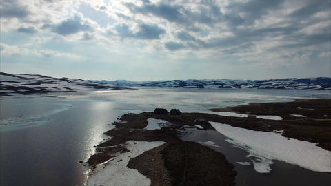 Snowy landscape of Hardangervidda mountain plateau in Norway Footage