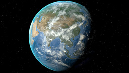Night to day - rotating Earth. Zoom in on Kazakhstan outlined Animation