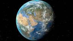 Night to day - rotating Earth. Zoom in on Latvia outlined Animation