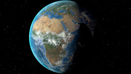 Night to day - rotating Earth. Zoom in on Niger outlined Animation