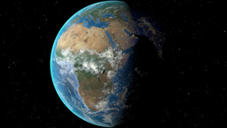 Night to day - rotating Earth. Zoom in on Nigeria outlined Animation