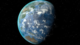 Night to day - rotating Earth. Zoom in on North Korea outlined Animation