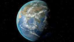 Night to day - rotating Earth. Zoom in on Pakistan outlined Animation