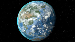 Night to day - rotating Earth. Zoom in on Russia outlined Animation