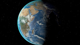 Night to day - rotating Earth. Zoom in on Rwanda outlined Animation