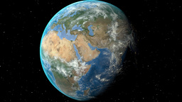 Night to day - rotating Earth. Zoom in on Slovakia outlined Animation