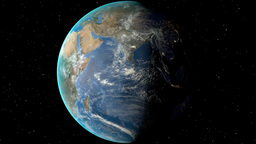 Night to day - rotating Earth. Zoom in on Somalia outlined Animation