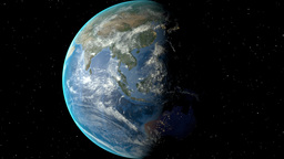 Night to day - rotating Earth. Zoom in on Sri Lanka outlined Animation