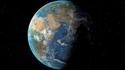 Night to day - rotating Earth. Zoom in on Sudan outlined Animation