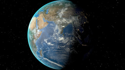 Night to day - rotating Earth. Zoom in on Yemen outlined Animation
