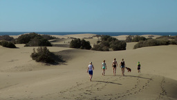 Spain The Canary Islands Gran Canary 008 Maspalomas dunes; people on sand Footage