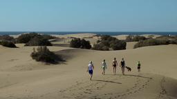Spain The Canary Islands Gran Canary 008 Maspalomas dunes; people on sand Footage