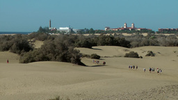 Spain The Canary Islands Gran Canary 001 dunes and lighthouse of Maspalomas Footage