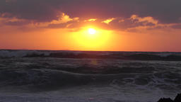 Beautiful Sunset over the ocean, real time Footage
