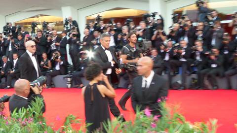 George Clooney Venice red carpet Footage