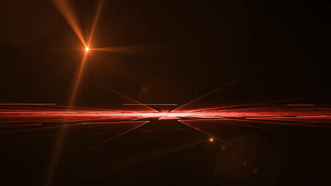 Red Geometrical Horizon with Light Flare Rotating in all Directions Animation