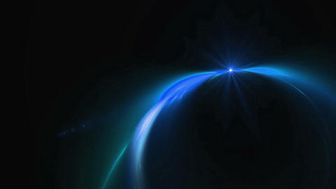 Dynamic Blue Rotational Motion Forming a Circle with Flare Animation