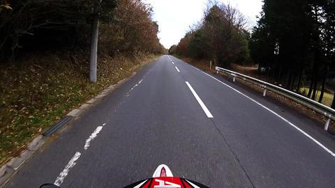 Helmet view. Rider is traveling uphill Footage
