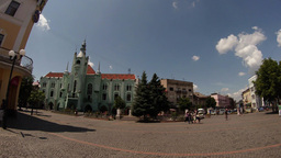 Central Part Of The City Of Mukachevo Western Ukraine In The Hot Afternoon Summe stock footage