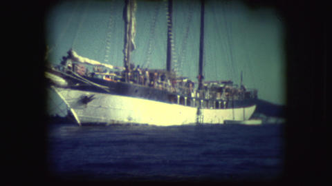 Vintage 8mm footage of Sail boats Live Action