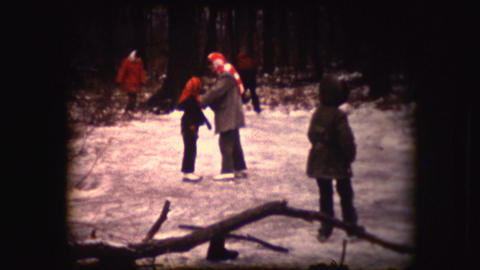 Vintage 8mm Footage Of People Having Fun While Skating stock footage