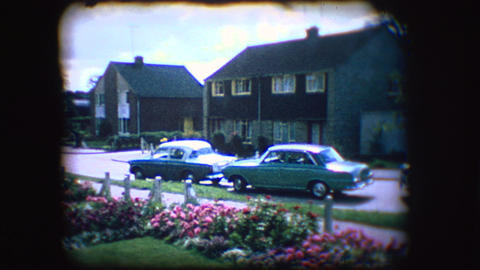 Vintage 8mm footage of an English street in the mid 1950's Footage