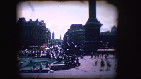 Vintage 8mm footage of Trafalgar Square Footage