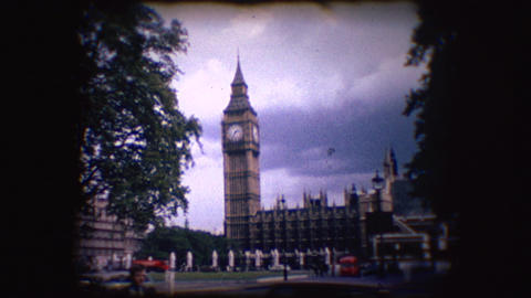 Vintage 8mm footage of Big Ben Stock Video Footage