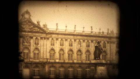 Front View Of A Neoclasical French Building In Paris stock footage