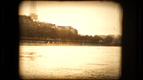 Footage of the Seine river and the Eiffel tower Footage