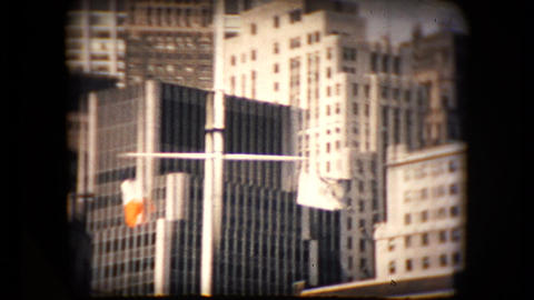 View of the New York City skyline from a boat in the mid 1960's Live Action