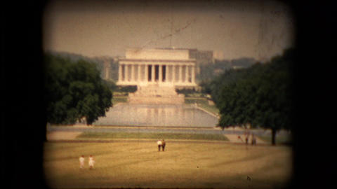 View of the Lincoln monument in the mid 1960's Live Action
