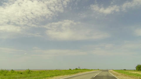 Clouds over the road. The path from Kamyshin village - Ternovskay village, Volgo Live Action