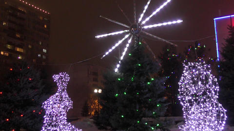 Illumination of the Christmas city Footage