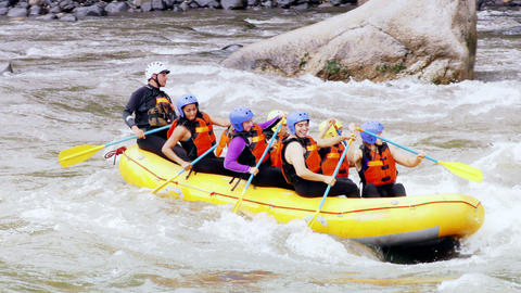 team building on extreme whitewater rafting trip Footage